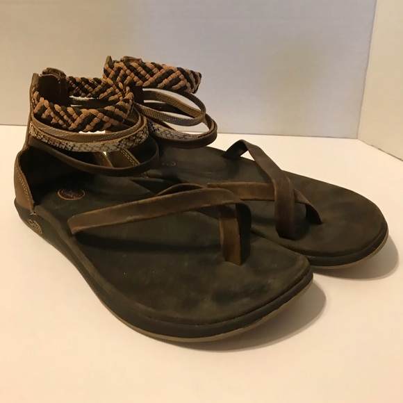 b790195167d7 Chaco Shoes - Chaco Dawkins Brown Leather Ankle Strap Heel Zip 6
